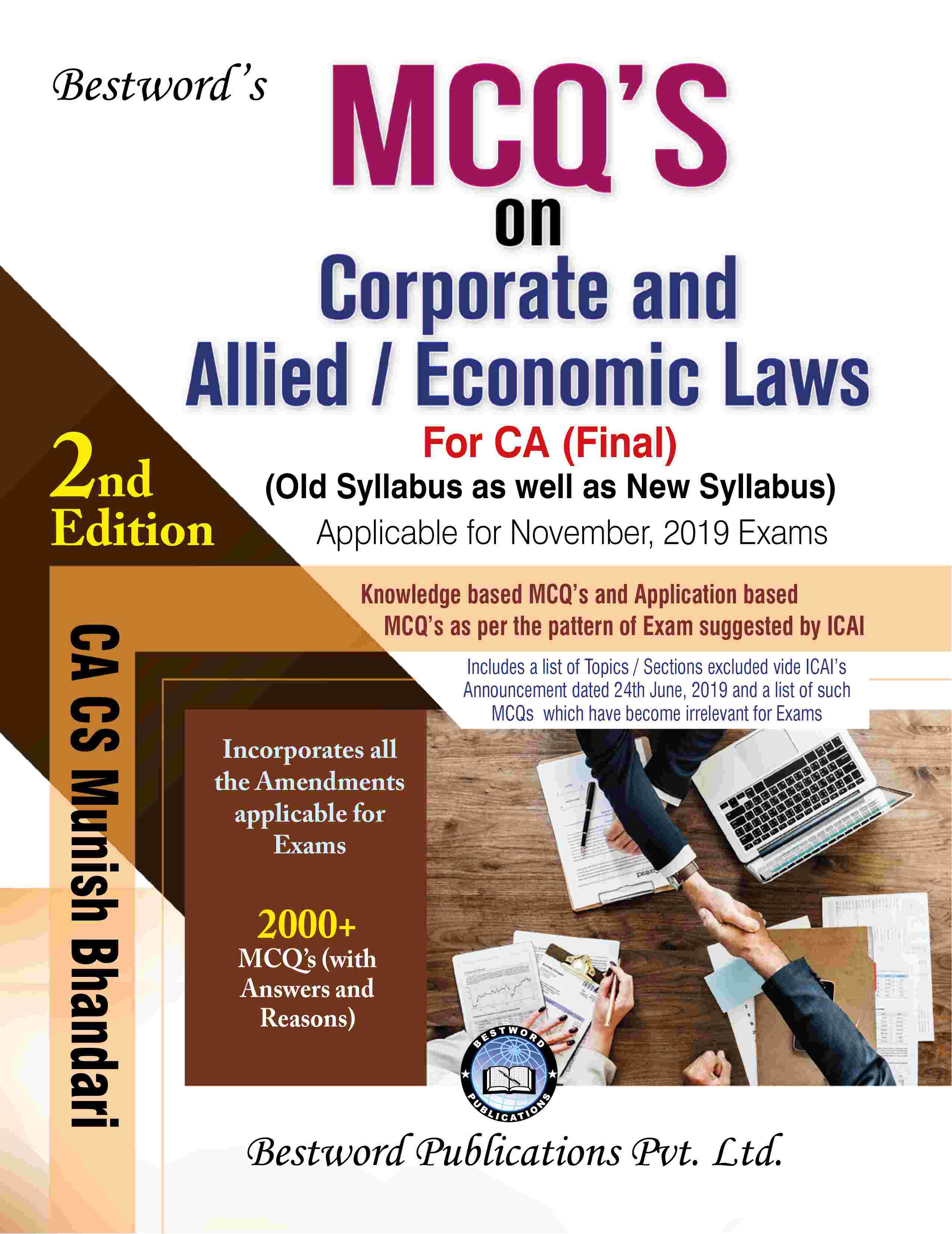 bestword's-mcqs-on-corporate-and-allied-laws-and-economic-laws---by-ca-cs-munish-bhandari---2nd-edition---for-ca-(final)-november,-2019-exams-(old-as-well-as-new-syllabus)