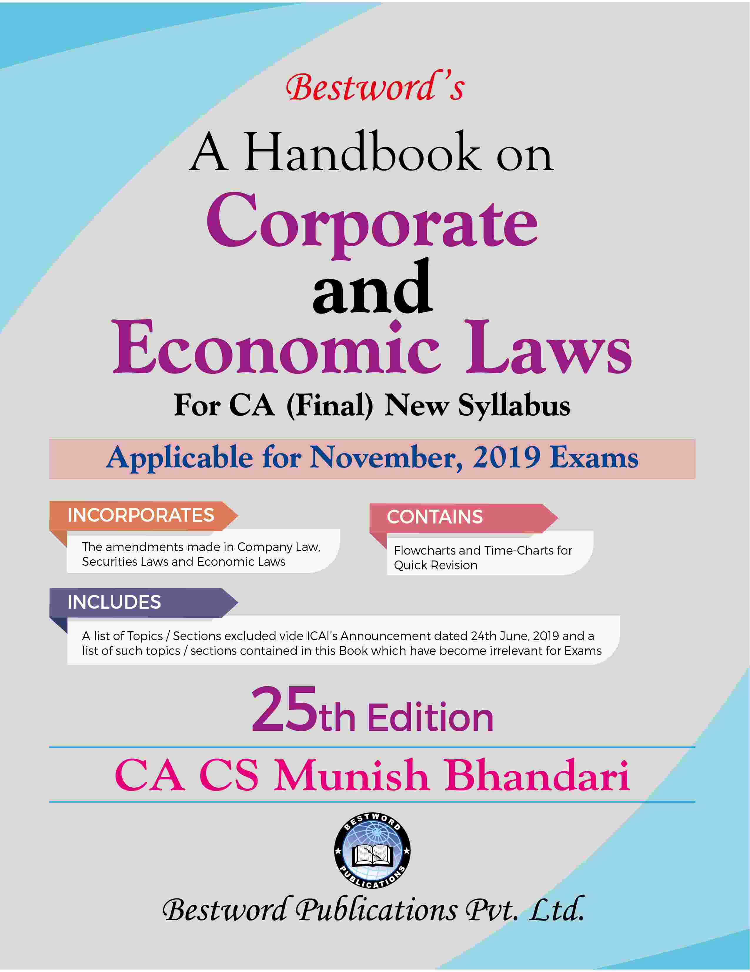bestword's-a-handbook-on-corporate-and-economic-laws---by-ca-cs-munish-bhandari---25th-edition---for-ca-(final)-november,-2019-exams-(new-syllabus)