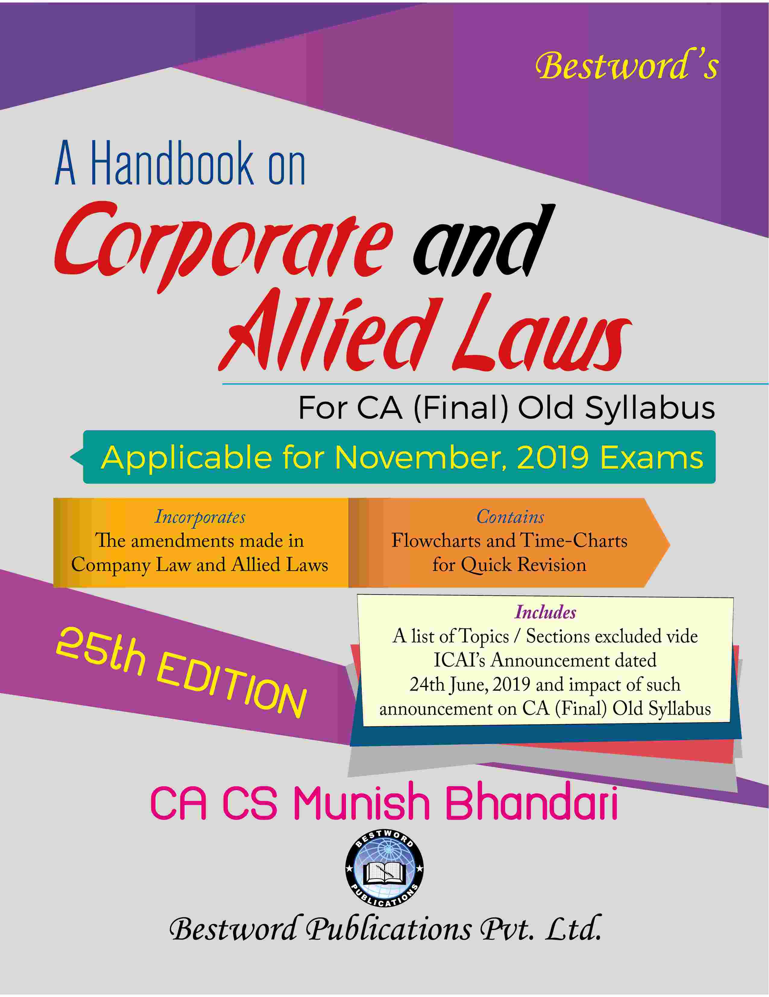 bestword's-a-handbook-on-corporate-and-allied-laws---by-ca-cs-munish-bhandari---25th-edition---for-ca-(final)-november,-2019-exams-(old-syllabus)
