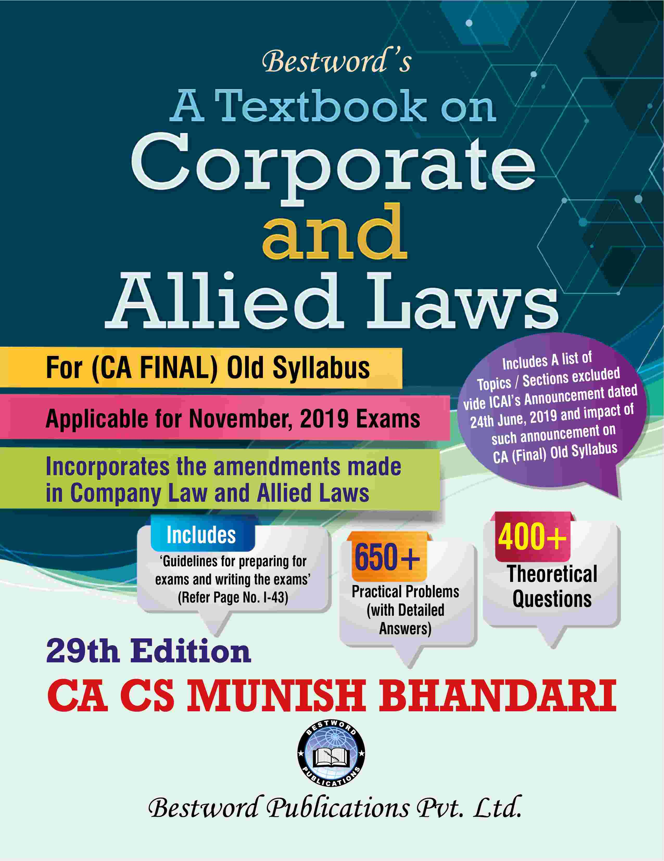 bestword's-a-textbook-on-corporate-and-allied-laws---by-ca-cs-munish-bhandari---29th-edition---for-ca-(final)-november,-2019-exams-(old-syllabus)