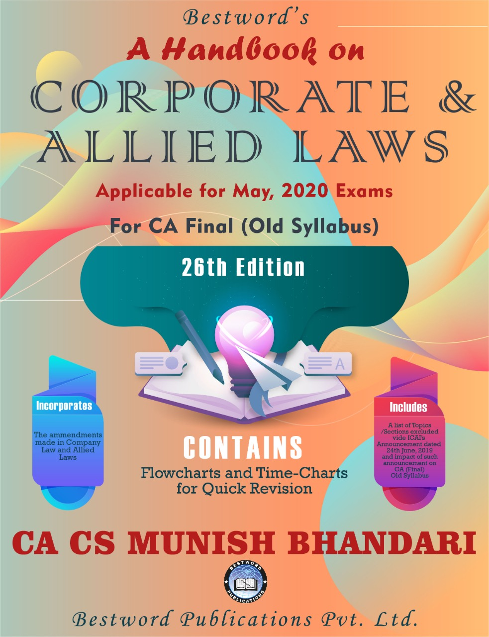 bestword's-a-handbook-on-corporate-and-allied-laws---by-ca-cs-munish-bhandari---26th-edition---for-ca-(final)-may,-2020-exams-(old-syllabus)