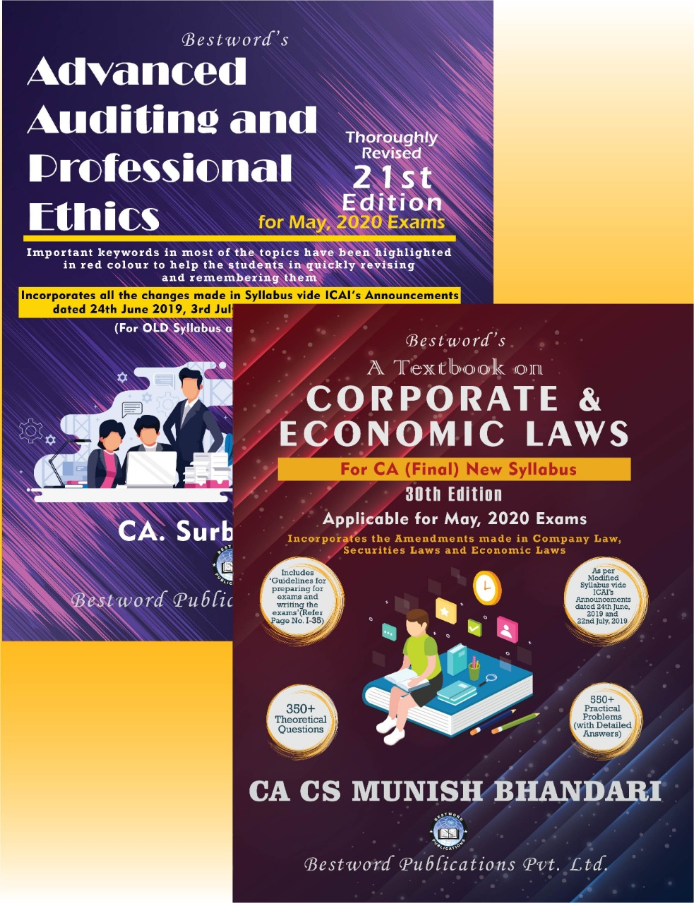 bestword's-combo-of-two-books---advanced-auditing-and-prof.-ethics---21st-edition-by-ca-surbhi-bansal-&-corporate-&-economic-laws---30th-edition-by-ca-cs-munish-bhandari---for-ca-(final)-may,-2020-exams-(new-syllabus)