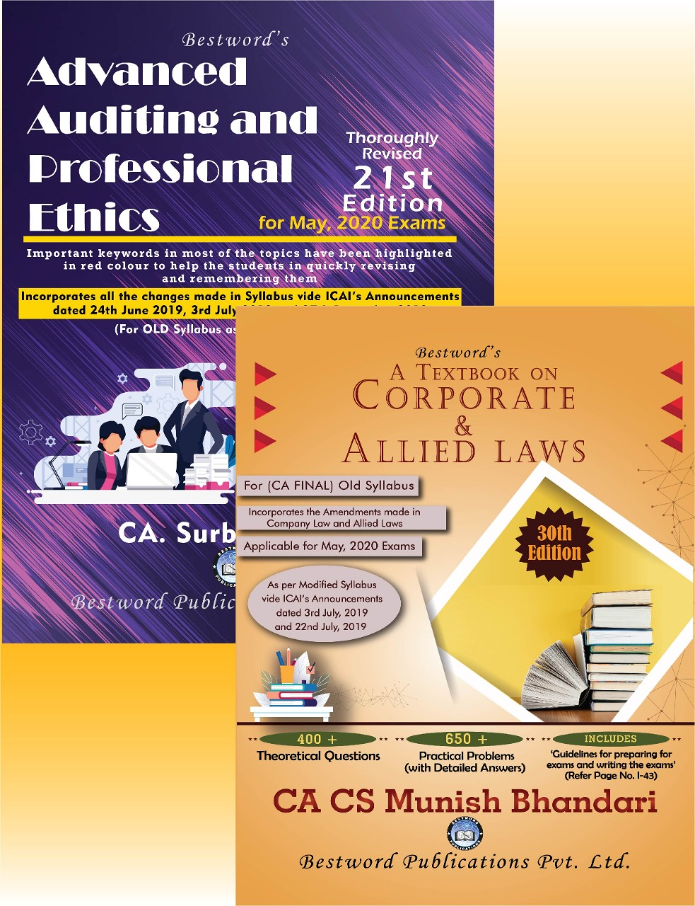 bestword's-combo-of-two-books---advanced-auditing-and-prof.-ethics---21st-edition-by-ca-surbhi-bansal-&-corporate-&-allied-laws---30th-edition-by-ca-cs-munish-bhandari---for-ca-(final)-may,-2020-exams-(old-syllabus)